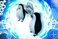 3d penguin holding contact us sign board for service illustration Royalty Free Stock Photos
