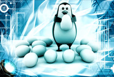 3d penguin holding egg and eggs laying over floor illustration Stock Photography