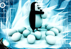 3d penguin holding egg and eggs laying over floor illustration Royalty Free Stock Photos