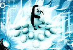 3d penguin holding egg and eggs laying over floor illustration Stock Photo