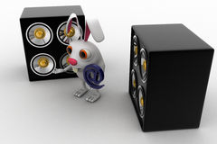3d penguin holding email icon and with musical speaker concept Stock Photos