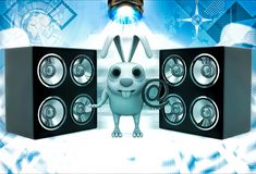 3d penguin holding email icon and with musical speaker illustation Royalty Free Stock Images