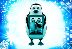 3d penguin holding family photo in hand illustration Royalty Free Stock Photos