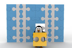 3d penguin holding golden piece of puzzle from big puzzle wall concept Stock Images