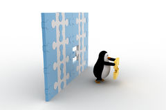 3d penguin holding golden piece of puzzle from big puzzle wall concept Stock Image