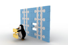 3d penguin holding golden piece of puzzle from big puzzle wall concept Royalty Free Stock Photos