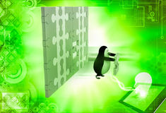 3d penguin holding golden piece of puzzle from big puzzle wall illustration Stock Photos