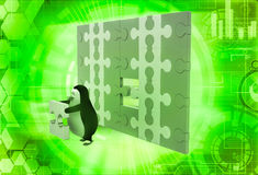 3d penguin holding golden piece of puzzle from big puzzle wall illustration Stock Photography