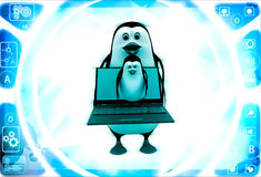 3d penguin holding laptop and one penguin coming through laptop screen illustration Stock Photography