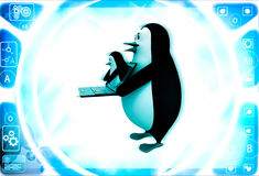 3d penguin holding laptop and one penguin coming through laptop screen illustration Stock Photo