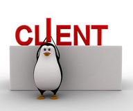 3d penguin holding letter I of client tect concept Stock Photos
