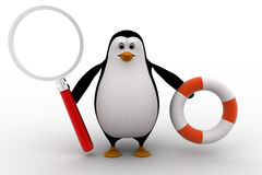 3d penguin holding life saving float tube and magnifying glass concept Royalty Free Stock Photos