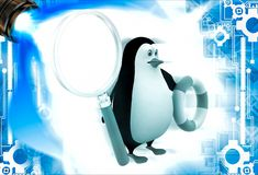 3d penguin holding life saving float tube and magnifying glass illustation Stock Photo