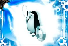 3d penguin holding life saving float tube and magnifying glass illustation Royalty Free Stock Image