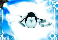 3d penguin holding life saving float tube and magnifying glass illustation Stock Image