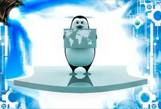 3d penguin holding map of world and standing on arrow illustation Royalty Free Stock Photography