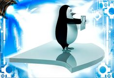 3d penguin holding map of world and standing on arrow illustation Stock Photography