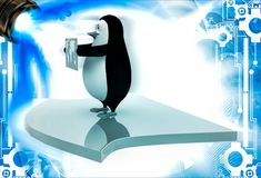 3d penguin holding map of world and standing on arrow illustation Stock Images