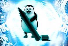 3d penguin holding market sketch pen in hand illustration Royalty Free Stock Images