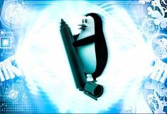 3d penguin holding market sketch pen in hand illustration Stock Image