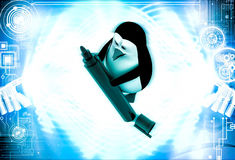 3d penguin holding market sketch pen in hand illustration Royalty Free Stock Photography
