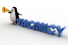 3d penguin holding megaphone and conveying vacancy concept Royalty Free Stock Image
