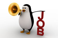 3d penguin holding megaphone on hands conveying job concept Stock Photo