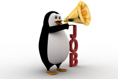 3d penguin holding megaphone on hands conveying job concept Stock Photos