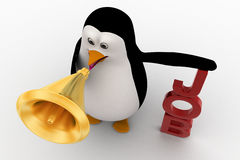 3d penguin holding megaphone on hands conveying job concept Royalty Free Stock Photography