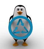 3d penguin holding recycle symbol concept Royalty Free Stock Photos