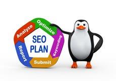 3d penguin holding seo plan. 3d illustration of cute penguin holding circular flow chart of seo plan Stock Photography