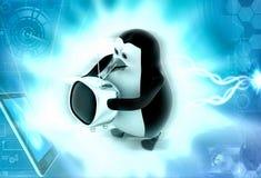 3d penguin holding tv illstration Stock Images