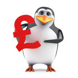 3d Penguin holding a UK Pounds sterling symbol. 3d render of a penguin holding a UK Pounds sterling symbol royalty free illustration
