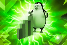 3d penguin holding up arrow and with percentage bar graph illustration Stock Photo