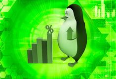 3d penguin holding up arrow and with percentage bar graph illustration Royalty Free Stock Image