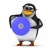 3d Penguin holds a dvd Royalty Free Stock Images