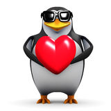3d Penguin holds a red heart Stock Photos