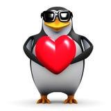 3d Penguin holds a red heart stock illustration