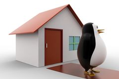 3d penguin with home concept Royalty Free Stock Photos