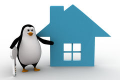 3d penguin with home icon and key concept Royalty Free Stock Images