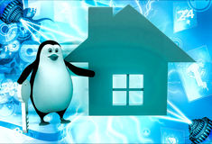 3d penguin with home icon and key illustration Royalty Free Stock Photo