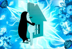 3d penguin with home icon and key illustration Royalty Free Stock Photos