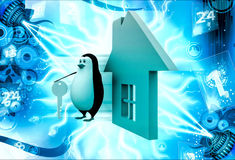 3d penguin with home icon and key illustration Royalty Free Stock Photography
