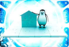 3d penguin with home icon made of golden puzzle pieces illustration Stock Photo