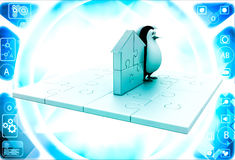 3d penguin with home icon made of golden puzzle pieces illustration Royalty Free Stock Photo