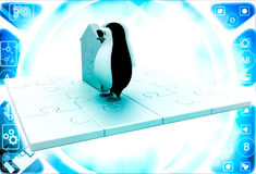 3d penguin with home icon made of golden puzzle pieces illustration Royalty Free Stock Photos