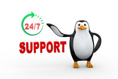3d penguin and 24 hours 7 days support. 3d illustration of penguin standing with twenty four hours/seven days online customer help support around the clock Stock Photo