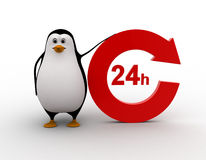 3d penguin 24 hours and recycle round  shaped arrow concept Stock Photography