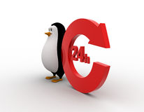 3d penguin 24 hours and recycle round  shaped arrow concept Stock Photos