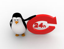 3d penguin 24 hours and recycle round  shaped arrow concept Royalty Free Stock Photos